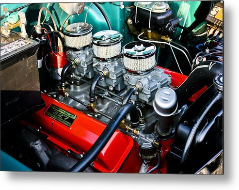 Transportation Metal Print featuring the photograph 1955 Chevy 327 by Dennis Coates