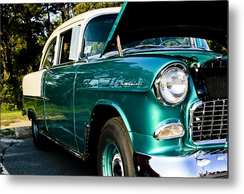 Transportation Metal Print featuring the photograph 1955 Chevy Bel Air Down The Side by Dennis Coates