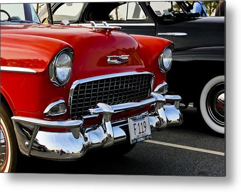 Transportation Metal Print featuring the photograph 1955 Chevy Bel Air Front End by Dennis Coates