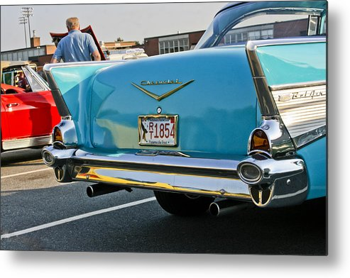 Transportation Metal Print featuring the photograph 1957 Chevy Bel Air Blue From Rear by Dennis Coates