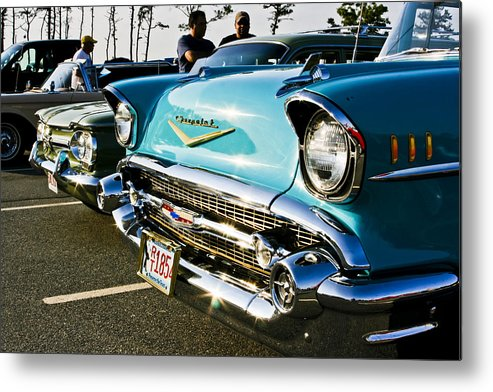 Transportation Metal Print featuring the photograph 1957 Chevy Bel Air Blue Front End by Dennis Coates