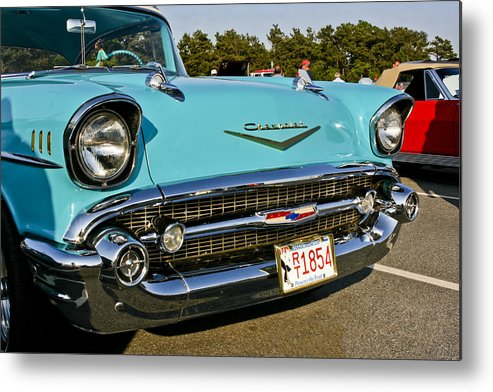 Transportation Metal Print featuring the photograph 1957 Chevy Bel Air Blue Front Grill by Dennis Coates