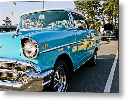 Transportation Metal Print featuring the photograph 1957 Chevy Bel Air Blue Right Side by Dennis Coates