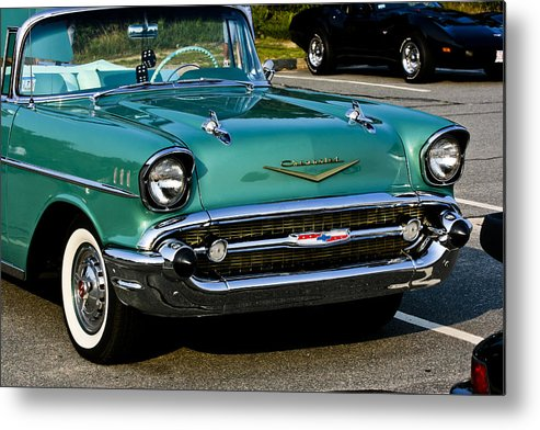 Transportation Metal Print featuring the photograph 1957 Chevy Bel Air Green Front End by Dennis Coates