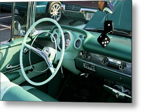Transportation Metal Print featuring the photograph 1957 Chevy Bel Air Green Interior Dash by Dennis Coates