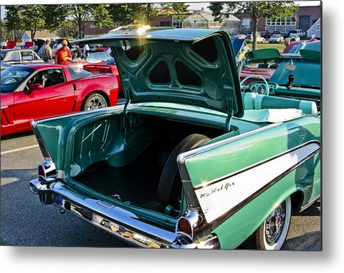 Transportation Metal Print featuring the photograph 1957 Chevy Bel Air Green Rear Trunk Open by Dennis Coates