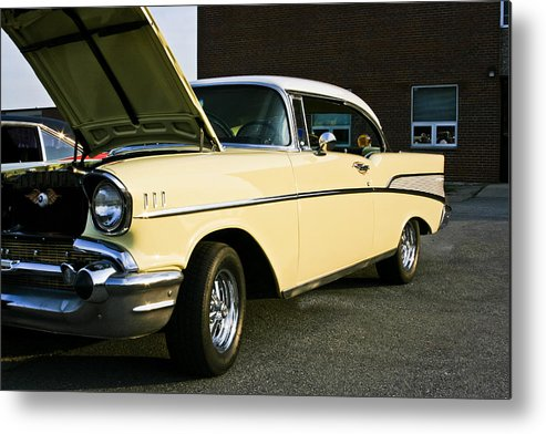 Transportation Metal Print featuring the photograph 1957 Chevy Bel Air Yellow Down The Side by Dennis Coates