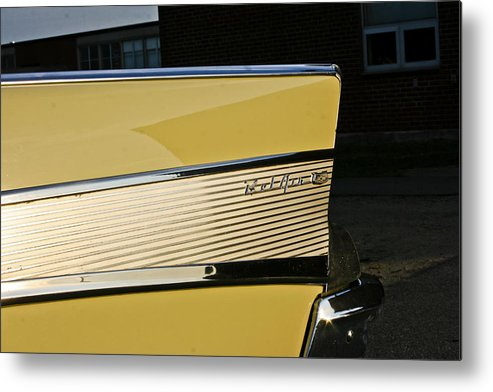 Transportation Metal Print featuring the photograph 1957 Chevy Bel Air Yellow Rear Quarter Panel by Dennis Coates