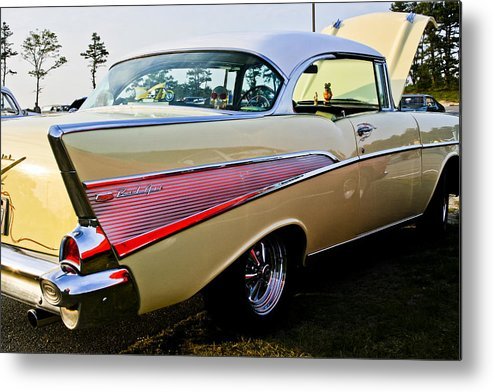 Transportation Metal Print featuring the photograph 1957 Chevy Bel Air Yellow Side View by Dennis Coates