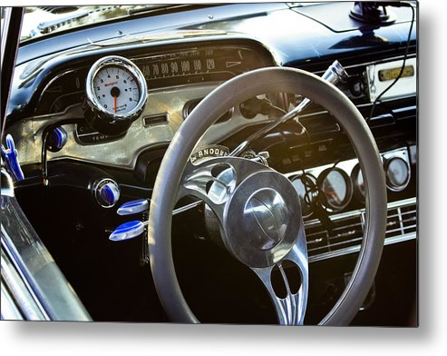 Transportation Metal Print featuring the photograph 1958 Chevy Impala Dashboard by Dennis Coates