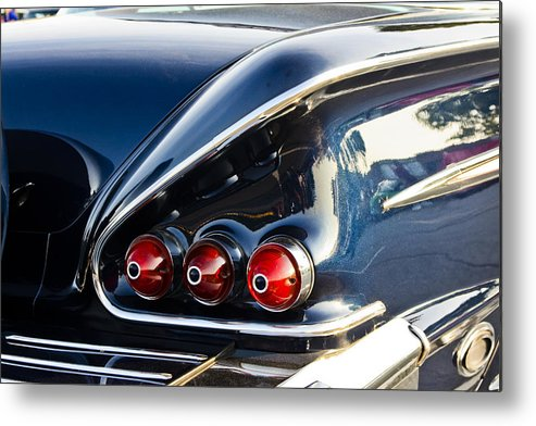 Transportation Metal Print featuring the photograph 1958 Chevy Impala Tail Lights by Dennis Coates