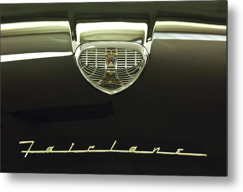 1958 Ford Fairlane 500 Victoria Tudor Hardtop Metal Print featuring the photograph 1958 Ford Fairlane 500 Victoria Hood Ornament by Jill Reger