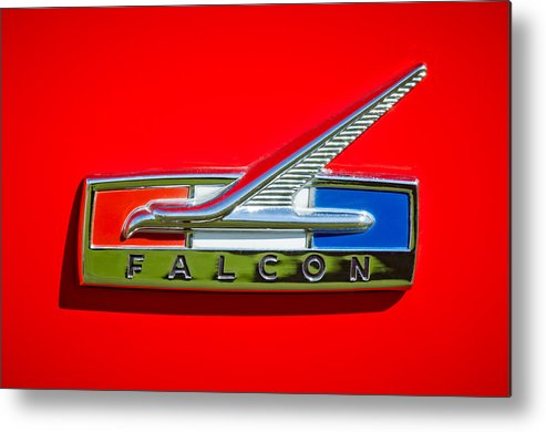 1964 Ford Falcon Emblem Metal Print featuring the photograph 1964 Ford Falcon Emblem by Jill Reger