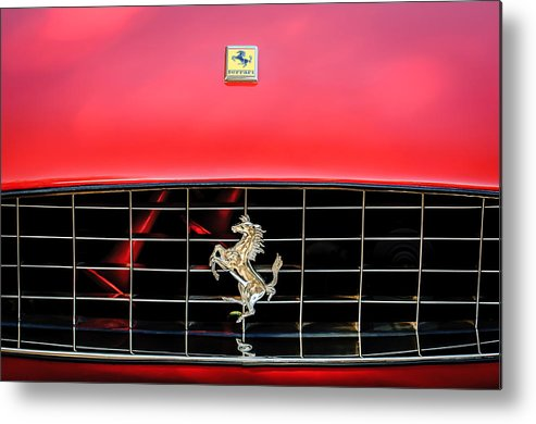1966 Ferrari 330 Gtc Coupe Metal Print featuring the photograph 1966 Ferrari 330 Gtc Coupe Hood Emblem -0391c by Jill Reger