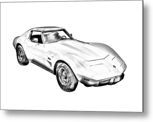 Car Metal Print featuring the photograph 1975 Corvette Stingray Sports Car Illustration by Keith Webber Jr