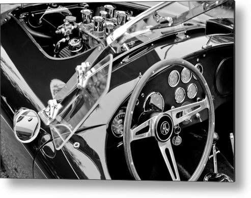 Ac Shelby Cobra Engine - Steering Wheel Metal Print featuring the photograph Ac Shelby Cobra Engine - Steering Wheel by Jill Reger