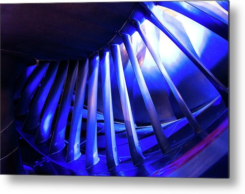 Commercial Metal Print featuring the photograph Aircraft Engine Fan Blades. by Mark Williamson