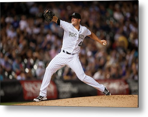 Baseball Pitcher Metal Print featuring the photograph Arizona Diamondbacks V Colorado Rockies by Dustin Bradford