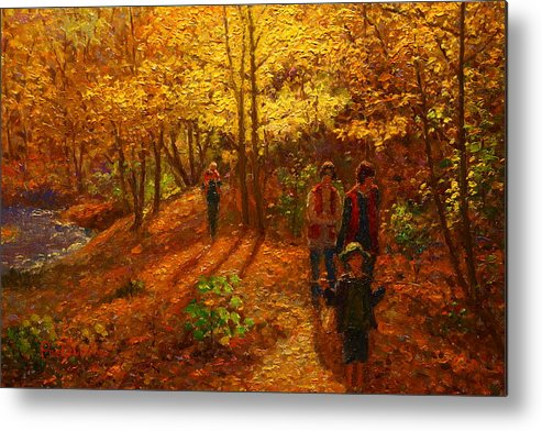 Nz Impressionist Metal Print featuring the painting Autumn Bush Creek Track by Terry Perham