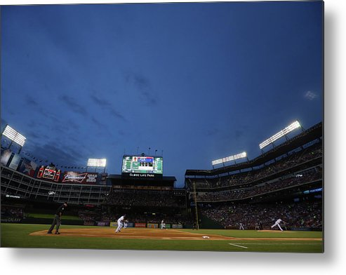 American League Baseball Metal Print featuring the photograph Boston Red Sox V Texas Rangers by Ronald Martinez