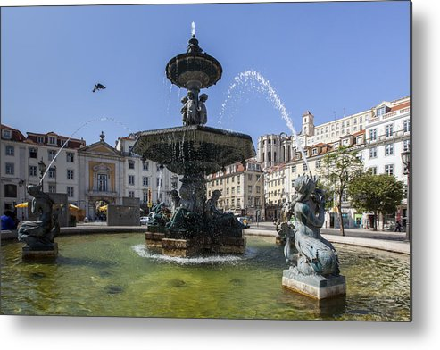 Ancient Metal Print featuring the photograph Fountain In The Pedro Iv Square Also Best Known As Rossio Square by Andre Goncalves