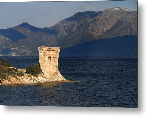 Ancient Metal Print featuring the photograph Martello Tower Near St Florent In Corsica by Jon Ingall