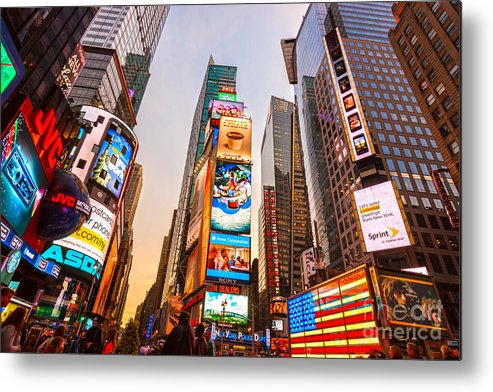 Angle Metal Print featuring the photograph New York City - Times Square by Luciano Mortula