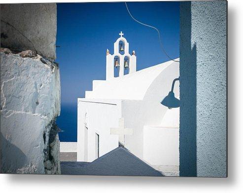 Santorini Metal Print featuring the photograph Santorini Church by Bjoern Kindler