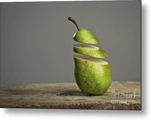 Pear Metal Print featuring the photograph Sliced by Nailia Schwarz
