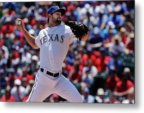 American League Baseball Metal Print featuring the photograph Toronto Blue Jays V Texas Rangers 2 by Brandon Wade