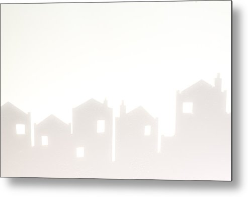 Abstract Metal Print featuring the photograph White Silhouette Cityscape by Chay Bewley