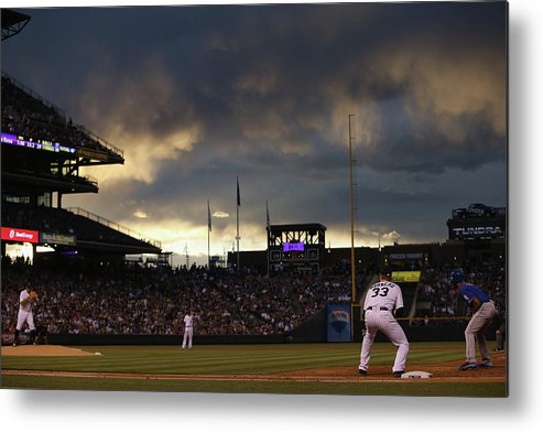 National League Baseball Metal Print featuring the photograph New York Mets V Colorado Rockies 21 by Doug Pensinger