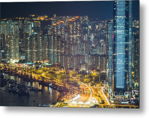 Hong Metal Print featuring the photograph Hong Kong At Night by Tuimages