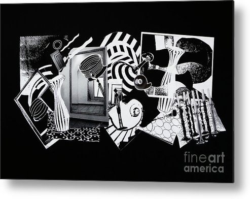 Abstract Metal Print featuring the mixed media 2d Elements In Black And White by Xueling Zou
