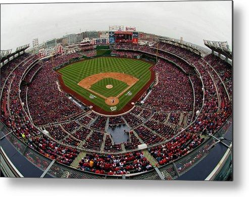 National League Baseball Metal Print featuring the photograph Atlanta Braves V. Washington Nationals by Mitchell Layton