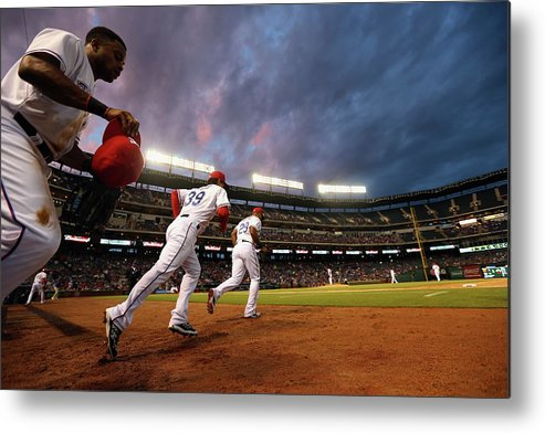 American League Baseball Metal Print featuring the photograph Kansas City Royals V Texas Rangers by Ronald Martinez