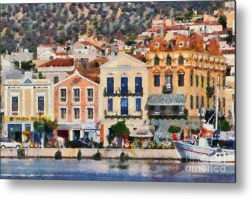 Lesvos; Lesbos; Mytilini; Mitilini; Mytilene; City; Town; Port; Harbor; Islands; Greece; Hellas; Greek; Aegean; Island; Summer; Holidays; Vacation; Tourism; Touristic; Travel; Trip; Voyage; Journey; Buildings; Tradition; Traditional; Architecture; Design; Bank Metal Print featuring the painting Mytilini Port by George Atsametakis