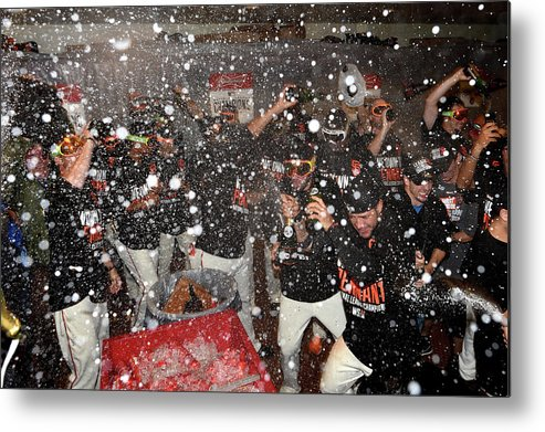 Playoffs Metal Print featuring the photograph Nlcs - St Louis Cardinals V San by Thearon W. Henderson