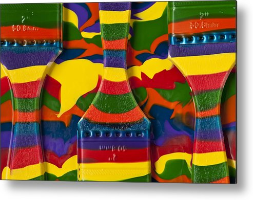 Abstract Metal Print featuring the photograph Paint Brushes Camouflaged by Jim Corwin