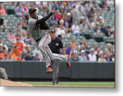 Ninth Inning Metal Print featuring the photograph San Francisco Giants V Colorado Rockies by Doug Pensinger