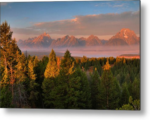 The Tetons Metal Print featuring the photograph Signal Mountain Sunrise by Stephen Vecchiotti