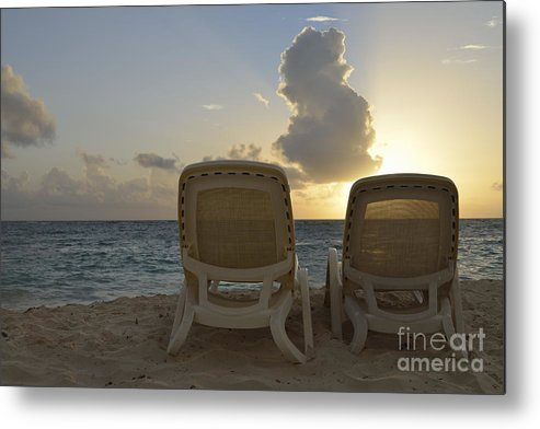 Tranquil Scene Metal Print featuring the photograph Sun Lounger On Tropical Beach by Sami Sarkis