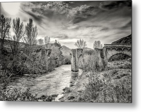 Ancient Metal Print featuring the photograph The Ancient Bridge At Ponte Novu In Corsica by Jon Ingall