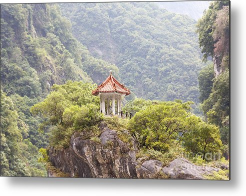Asia Metal Print featuring the photograph Traditional Pavillion Atop Cliff by Jannis Werner