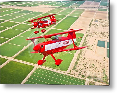 Horizontal Metal Print featuring the photograph Two Pitts Special S-2a Aerobatic by Scott Germain