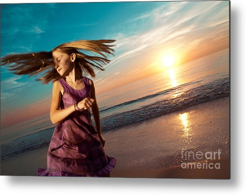 Active Metal Print featuring the photograph Girl Jumping And Dancing On Beautiful Beach. by Yaromir Mlynski