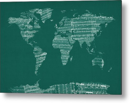 World Map Metal Print featuring the digital art Map Of The World Map From Old Sheet Music by Michael Tompsett