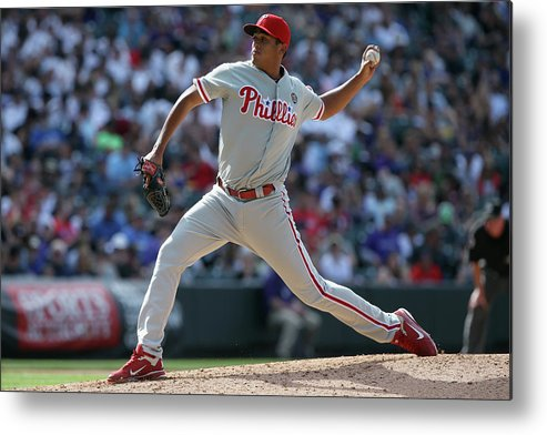 Relief Pitcher Metal Print featuring the photograph Philadelphia Phillies V Colorado Rockies by Doug Pensinger