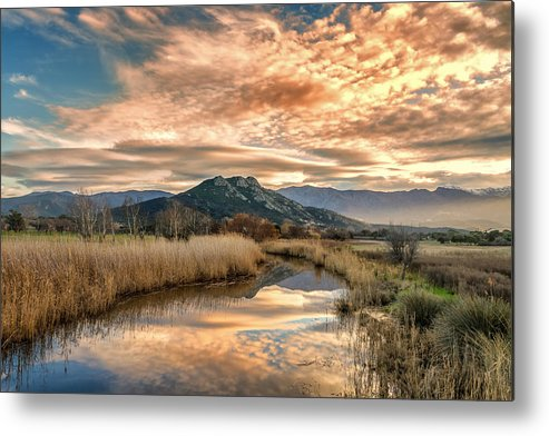 Balagne Metal Print featuring the photograph Reginu River And Punta Di Paraso by Jon Ingall