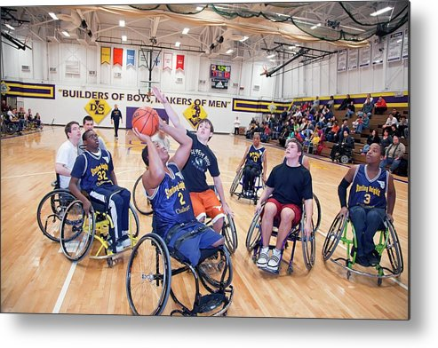 Large Group Of People Metal Print featuring the photograph Wheelchair Basketball by Jim West